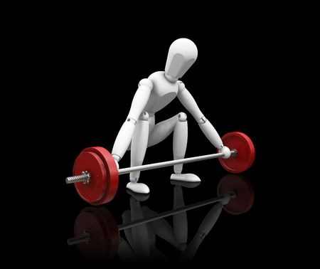 levantar pesas: 3D render de madera de un hombre prepar�ndose para levantar pesas