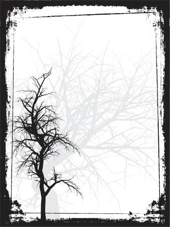 Grunge tree background - vector Illustration