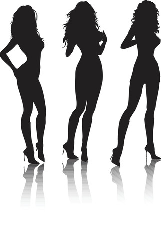 Sexy female poses - vector Vector