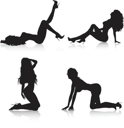 posing: Sexy female poses - vector