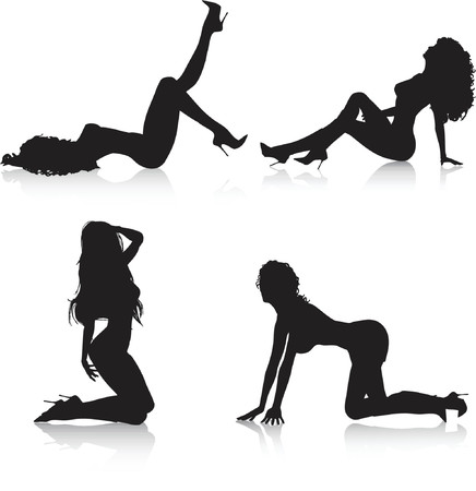 chica sexy: Sexy mujeres plantea - vector