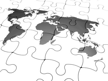 final piece of puzzle: 3D render of a jigsaw puzzle with the world map