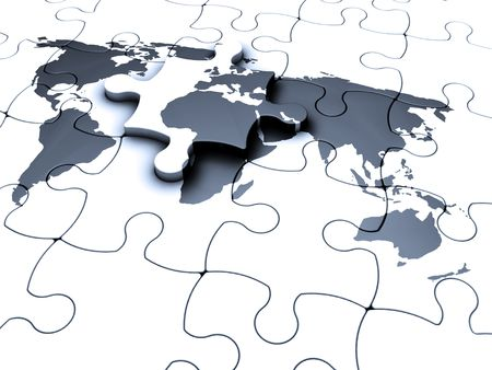 missing piece: 3D render of a jigsaw puzzle of a world map with the final piece being fitted