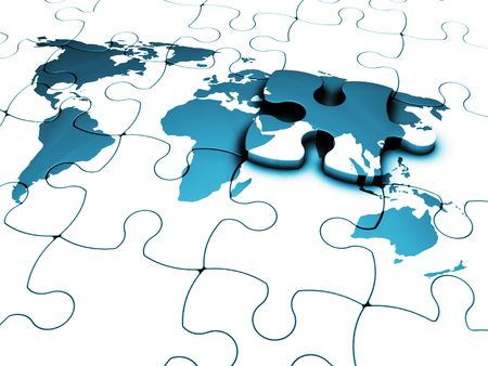 3D render of a jigsaw of a world map with the final piece just added Stock Photo - 833621