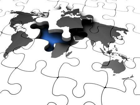 3D render of a jigsaw puzzle of a world map with the final piece lifted out