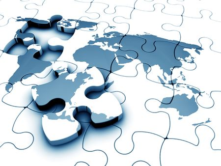 3D render of a jigsaw of the world with a piece missing Stock Photo - 833619