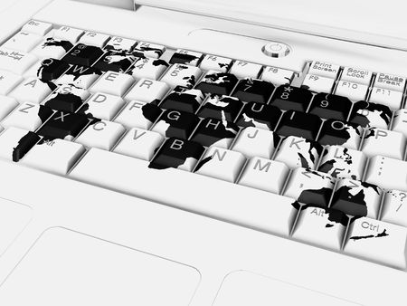 3D render of a keyboard with a world map photo