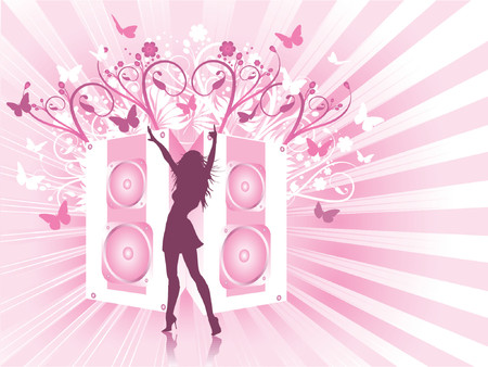 Dancing female on decorative background - vector Stock Vector - 854285