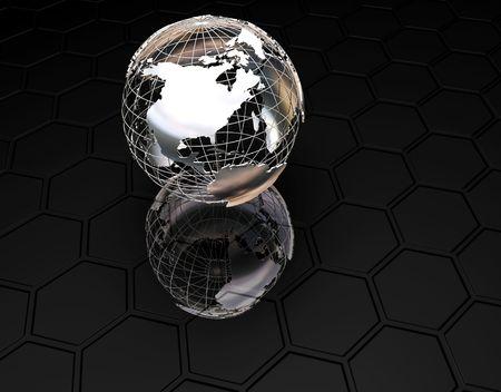 wireframe globe: 3D wireframe globe on textured black background