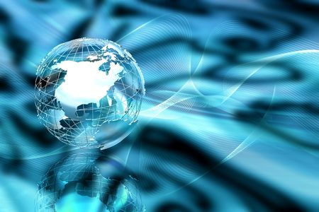Wireframe globe on abstract blur background photo