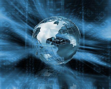 wireframe globe: 3D wireframe globe on binary code background