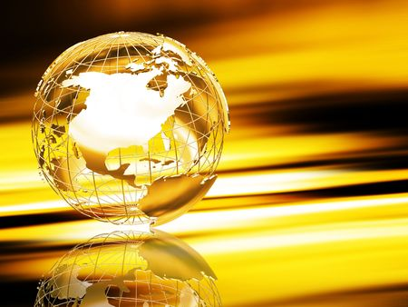 3D wireframe globe on abstract background photo