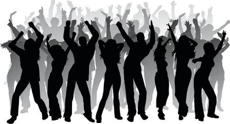 danseres silhouet: Enorme partij - vector Stock Illustratie