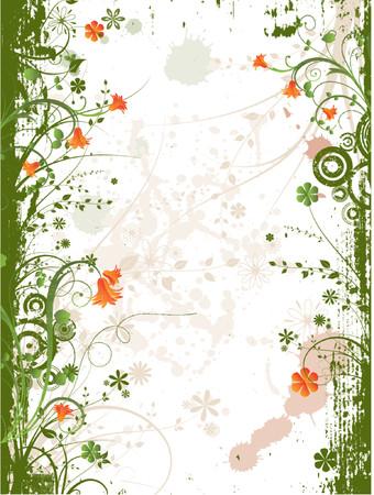 frame vector: Floral grunge frame - vector