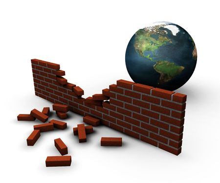 broken brick: 3D render of a globe behind a broken brick wall depicting breached global security Stock Photo