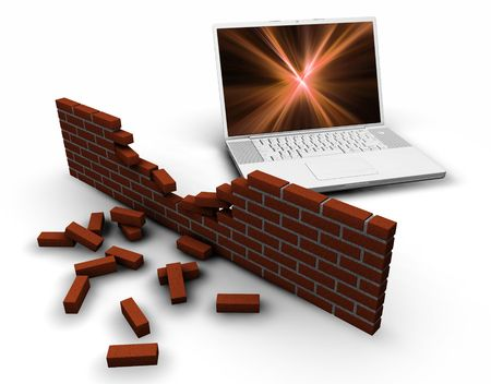 protecting: 3D render of a computer behind a broken brick wall depicting breached internet security
