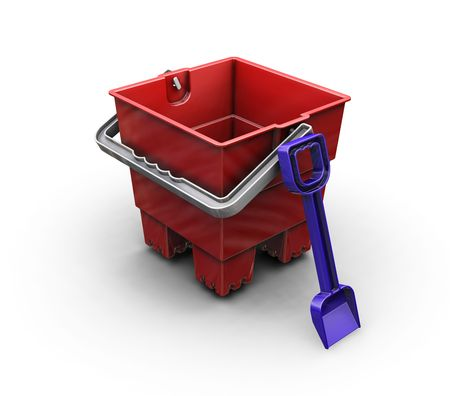 bucket and spade: 3D render of a bucket and spade Stock Photo