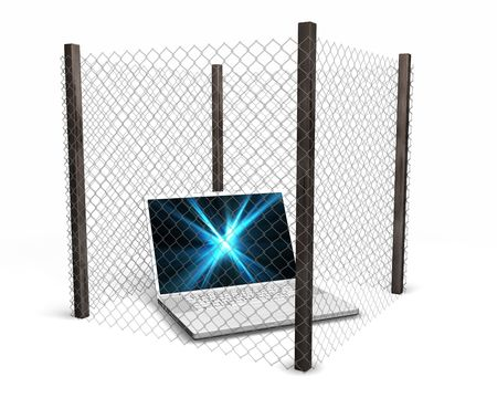 wire fence: 3D render of a computer behind a wire fence depicting computer security Stock Photo
