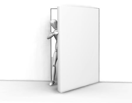 3D render of someone peeking around an open door photo