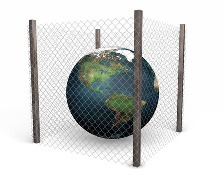 3D render of a globe behind a wire fence photo