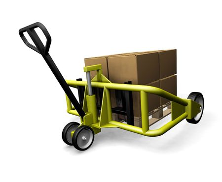 sacktruck: 3D render of a pallet truck with boxes Stock Photo