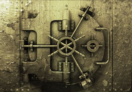 safe lock: Grunge style bank vault background