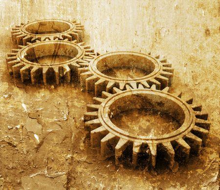 interlocking: Interlocking gears on grunge style background