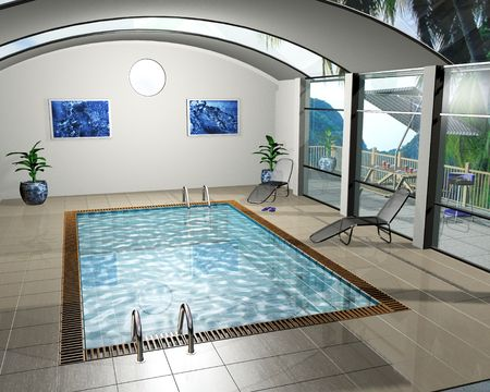 overseas: 3D render of an interior of a pool house
