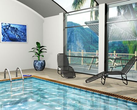 swimming glasses: 3D render of the interior of a pool house