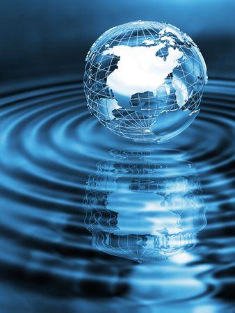 rippled: Wireframe globe on rippled water with reflection Stock Photo