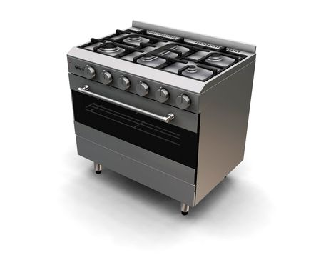 hob: 3D render of an oven Stock Photo