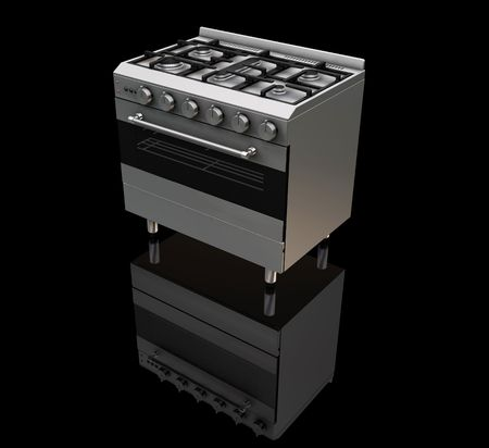 gas burners: 3D render of a gas oven on a black background