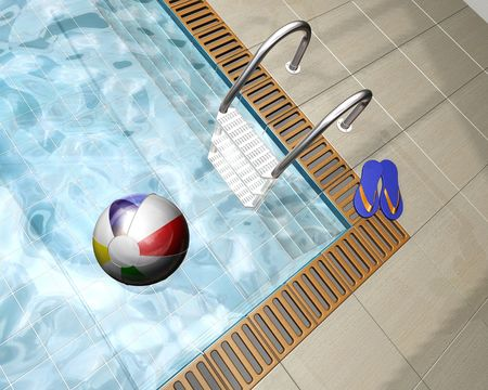 overseas: 3D render of a beach ball on a swimming pool Stock Photo