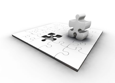 one piece: 3D render of a puzzle with one piece missing