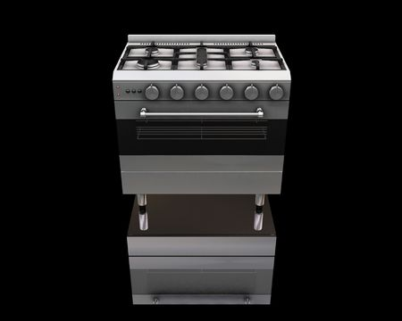 gas burners: 3D render of a modern oven Stock Photo
