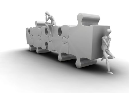 contemplating: 3D render of men on puzzle pieces thinking
