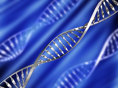 genetically: DNA strands on abstract background