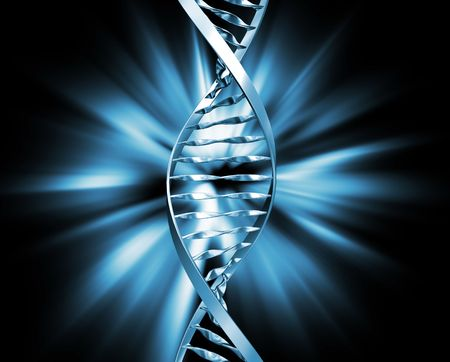 3D render of DNA strands on abstract background Stock Photo - 1350511