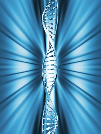 raytrace: DNA strands on abstract background Stock Photo