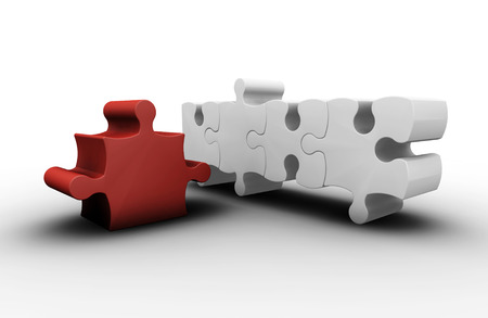 amongst: 3D render of one red puzzle piece amongst white ones