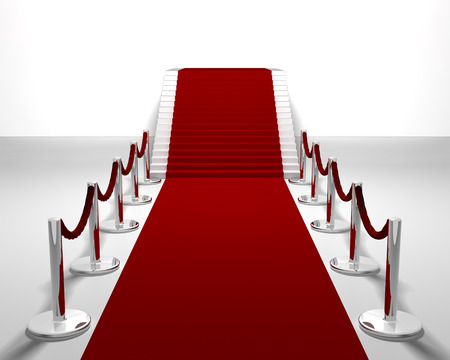red carpet background: 3D render of a red carpet leading up stairs