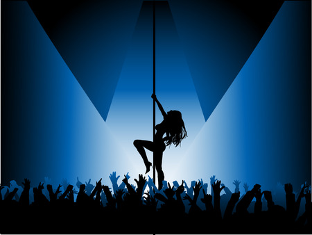 perform: Pole dancer with crowd - vector Illustration