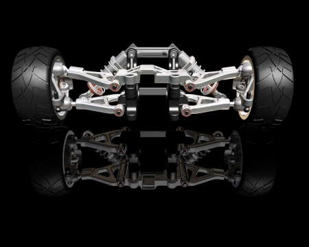 3D render of wheels with suspension