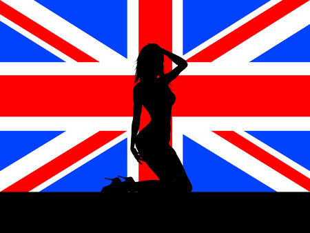 sexy girl posing: Sexy female on Union Jack flag - vector