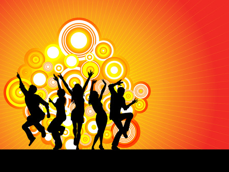 danseres silhouet: Partij menigte - vector