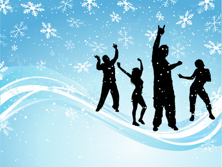 snow man party: Christmas party - vector