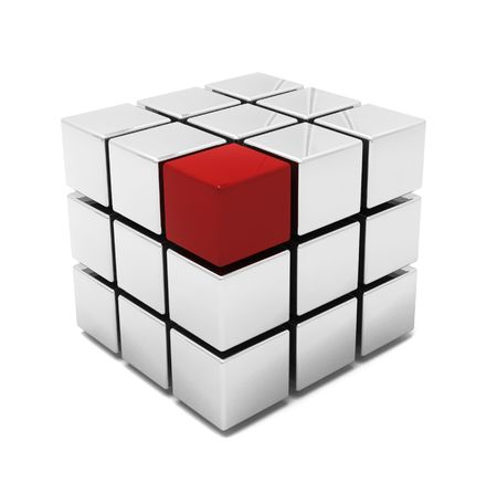 individual: 3D render of a cube with one red block