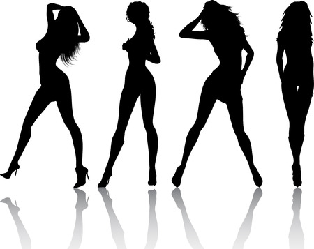 Silhouettes of sexy females - vector