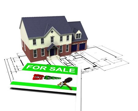 3D render of a house on blueprints with for sale sign photo