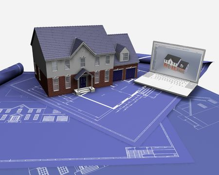 3D render of a house on blueprints with laptop Stock Photo